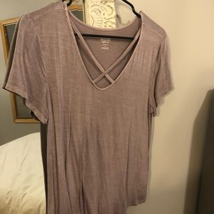Mauve Cross Neck Tee